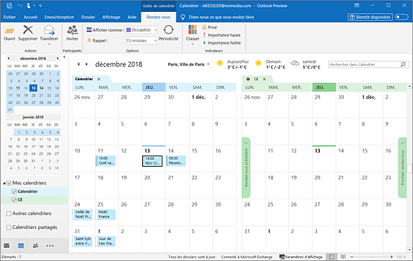 Affichage Calendrier Outlook.Outlook Versions 2019 Et Office 365 Afficher Plusieurs