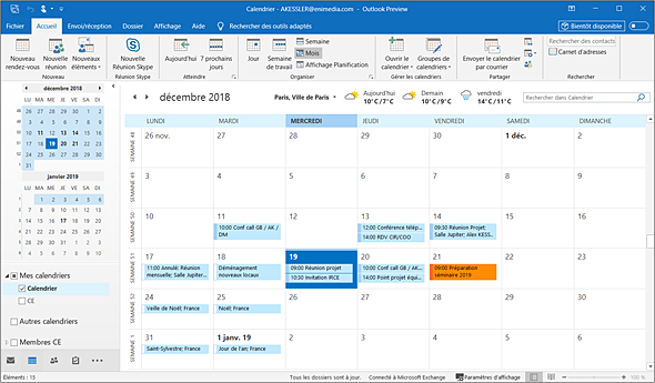 Affichage Calendrier Outlook.Outlook Versions 2019 Et Office 365 Personnaliser L